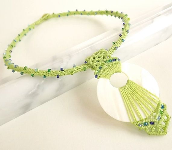 Perline collana Kumihimo madre di perla pendente di neferknots