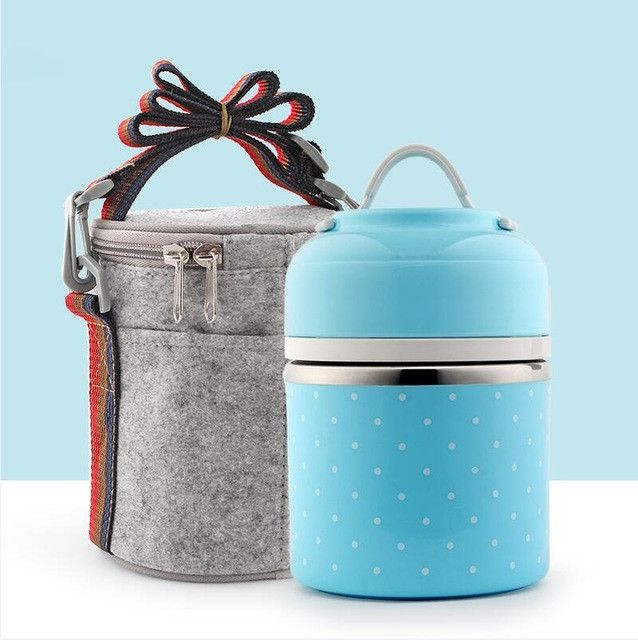 Portable Cute Mini Japanese Bento Box Leak-Proof Stainless Steel Thermal Lunch Box For Kids Picnic Container For Food Storage