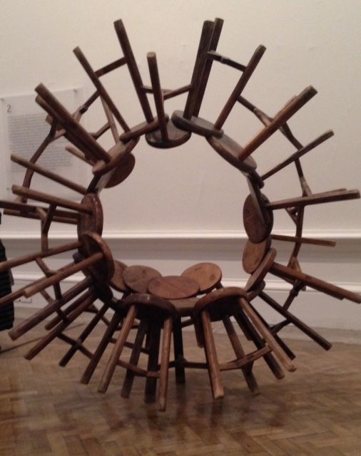 From the current exhibition by Ai Wei Wei at the Royal Academy.  Each stool shares a leg with 2 others: clever.