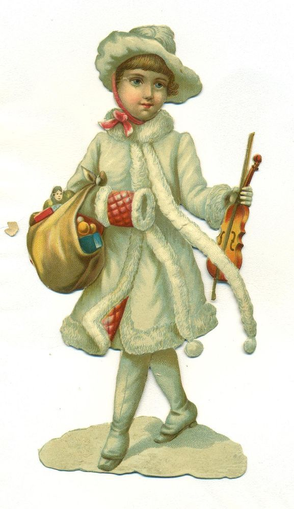 large victorian scrap snow baby with violin