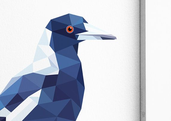 Magpie Australian Magpie Geometric print by tinykiwiprints on Etsy
