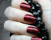 Japanese Nail Art- Red Gothic Baroque Art Nails From JapanNails Art, Nailart, Nails Design, Red Nails, Black Nails, Nails Polish, Nail Art, Art Nails, Red Black