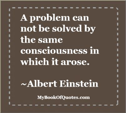 a problem can not be solved by the same consciousness in which it arose ~ albert einstein