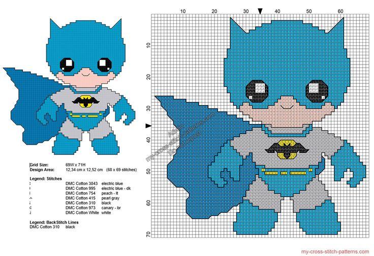 Baby Batman patrones punto de cruz gratis Superheroes 68x69