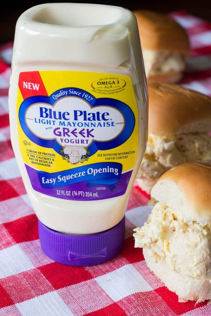 Blue Plate Light Greek Yogurt Mayonnaise - Southern Chicken Salad Sandwiches are made with chicken, mayo, coarse ground mustard, and eggs for a rich and satisfying flavor. Get the recipe!