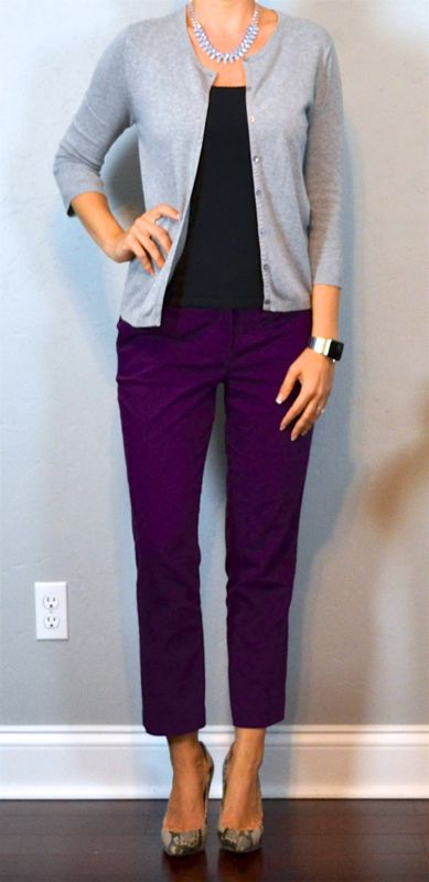 outfit post: grey cardigan, black tank, purple pants