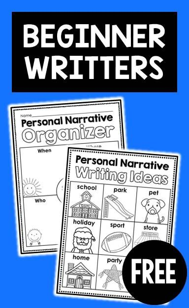 FREE personal narrative ideas chart, writing checklist, graphic organizer & differentiated primary lined stationary for beginner writers
