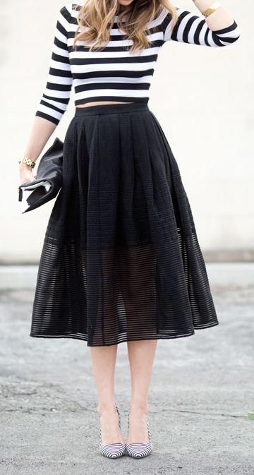 Stripes Crop T + Midi Skirt, black + white I Fashion, Style, Mode, Kleidung, Schwarz, Weiß