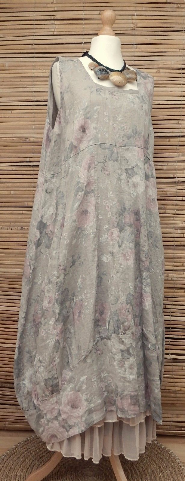 LAGENLOOK LINEN OVERSIZED FLORAL 2 POCKETS LONG DRESS**BEIGE** XL-XXL BUST 52-54 | eBay