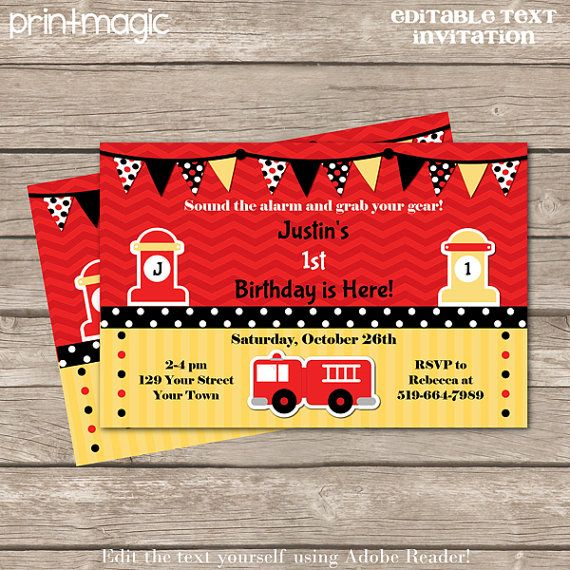 23 best images about Fire fighter Party Ideas – Firefighter Party Invitations