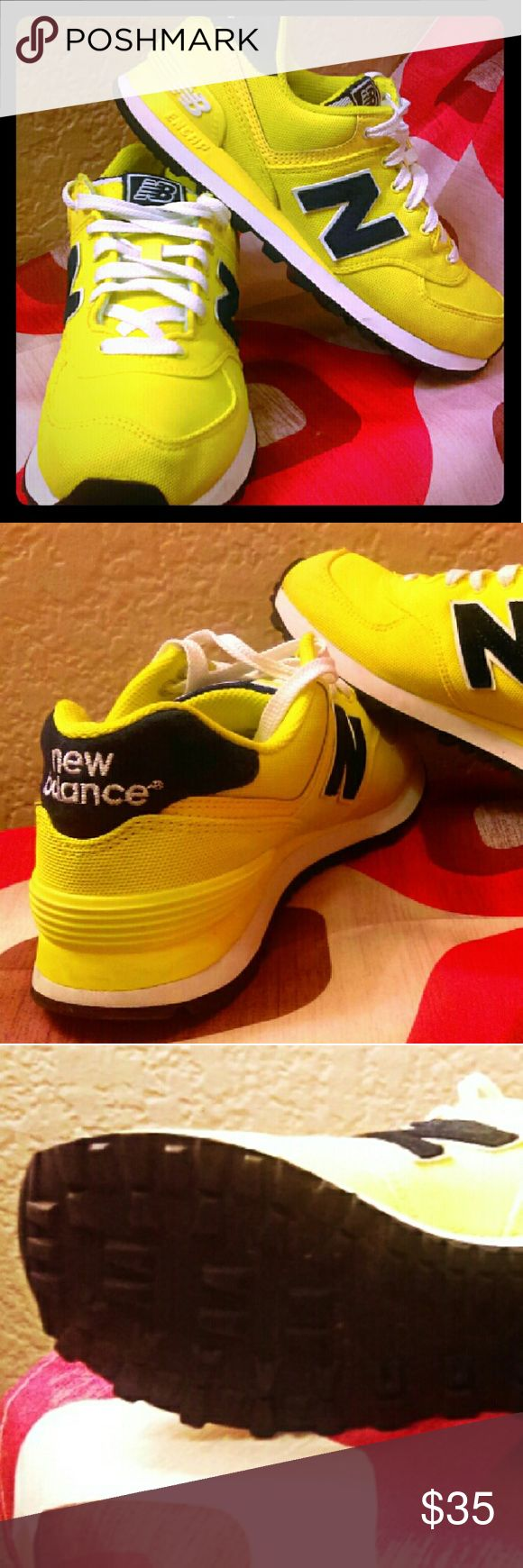 New Balance 574 Women's Size / Navy Blue and Yellow Canvas New Balance Shoes Athletic Shoes