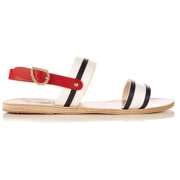 Ancient Greek Sandals Dinami leather sandals ($173) ❤ liked on Polyvore featuring shoes, sandals, blue stripe, blue leather shoes, leather sandals, stripe shoes, blue sandals and blue shoes