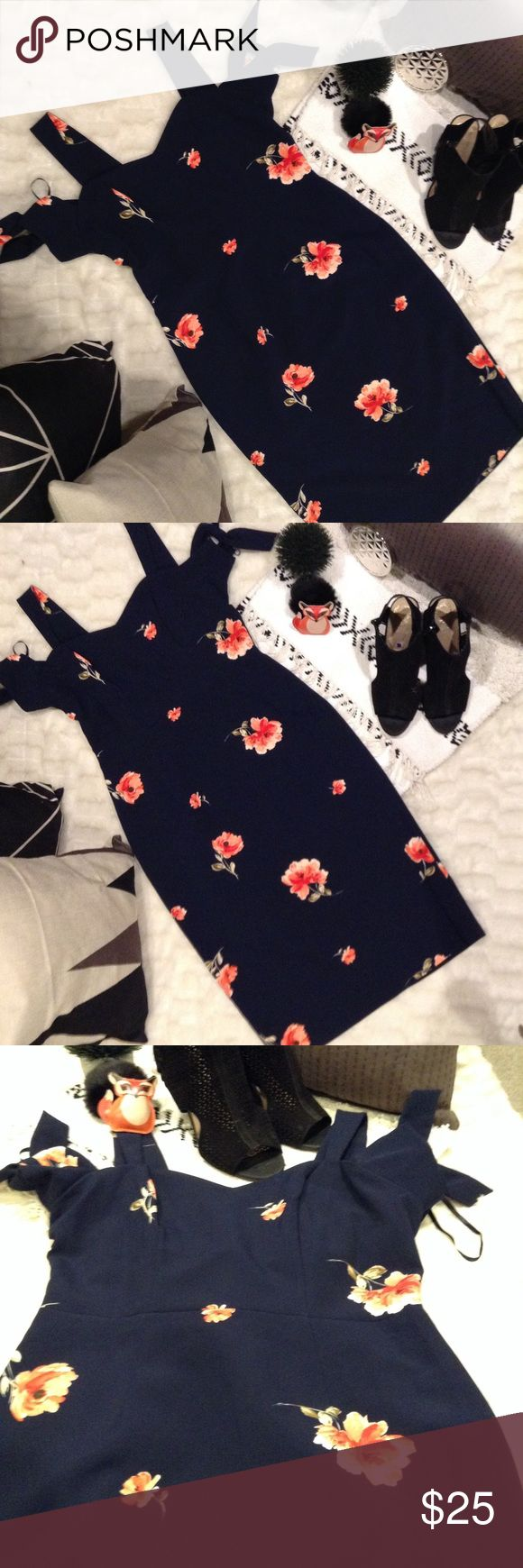 Beyond Ashley graham navy dress sz 8 Navy blue long fitted dress size 8 large pink florals. Structured dress with off the shoulder ties. Ashley Graham Dresses Midi