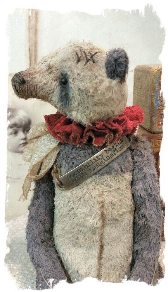 """Image of """"Imagination"""" - Antique Style - 8"""" Old & Worn PANDA Bear with Pouty Face * By Whendi's Bears"""