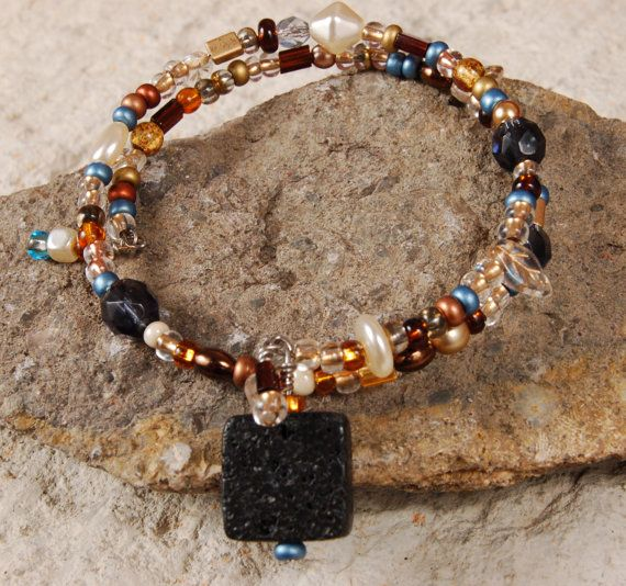 Blue and Earth Tone Memory Wire Bracelet by SilverChaseDesigns, $25.00