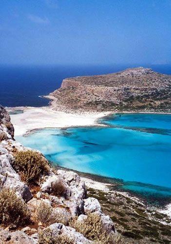 View of Cap Tigani from Balos Lagoon ~ Gramvousa Peninsula, Isle of Kríti (Crete), Greece [photo by Bo Transbol, Silkeborg, Denmark]....