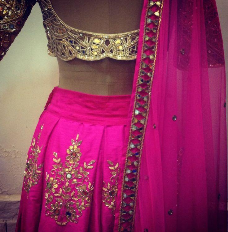 Arpita Mehta Fuchsia Pink Mirror Work & Gota Patti Embroidered #Lehenga.