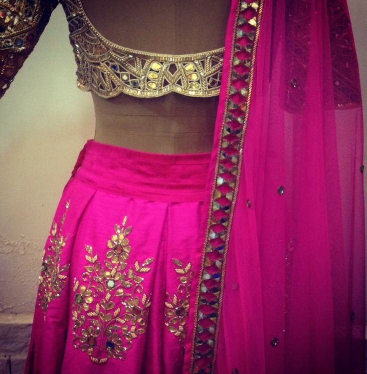 Arpita Mehta Fuchsia Pink Mirror Work & Gota Patti Embroidered #Lehenga.