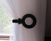Industrial Metal Black Curtain Tie-backs