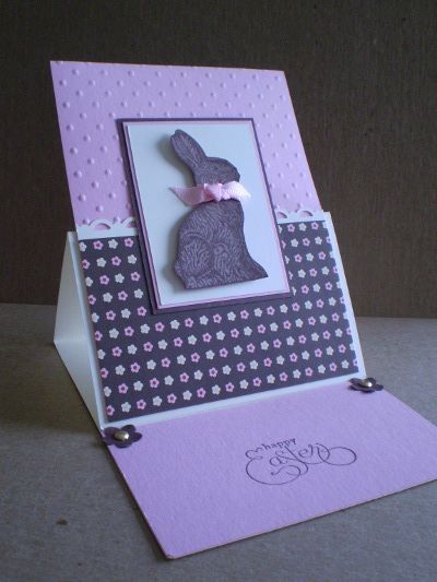 "handmade Easter card ... easel card design ... monochromatic purple ... even the ""chocolate"" Easter bunny ... sweet! ...Stampin' Up!"