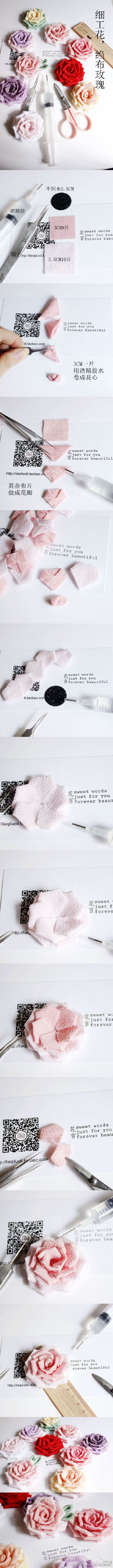 置顶 #细工花簪#最是那温柔的颜色,细腻的心思,在此奉上萌萌哒绉布玫瑰教程,此时此刻,可否和花言一起,做一朵属于自己的七夕玫瑰