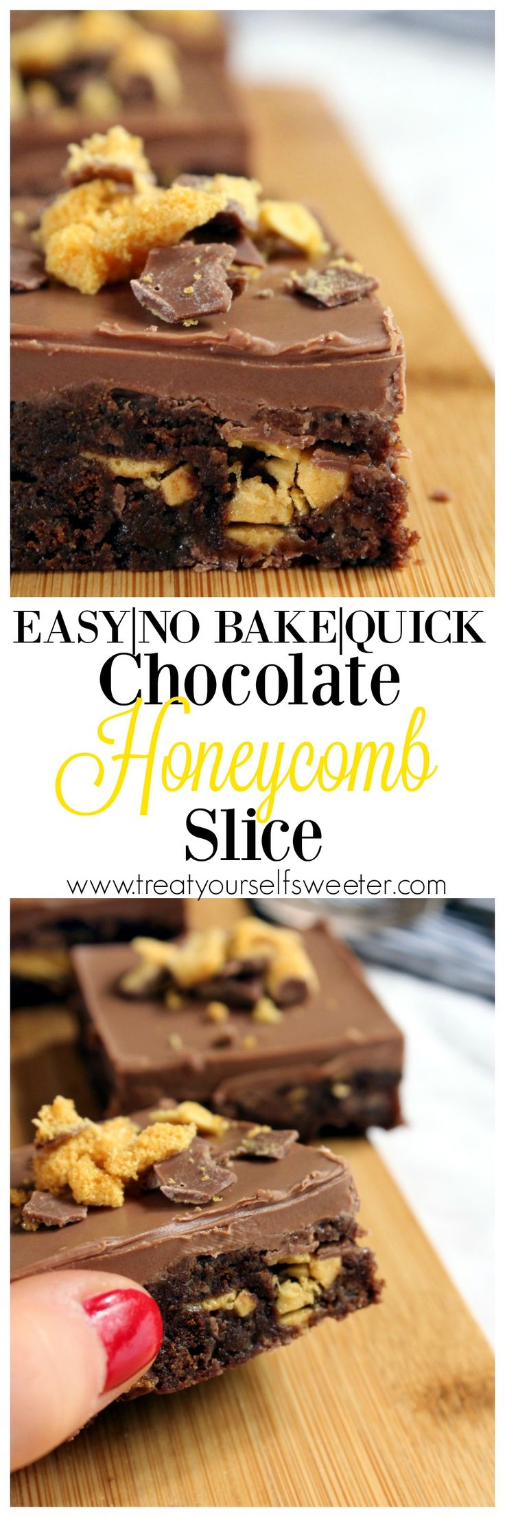 No Bake Honeycomb Slice; sweet chocolate biscuit base with pops of bright, crunchy honeycomb and a crisp layer of chocolate on top. Perfect treat or delicious dessert.