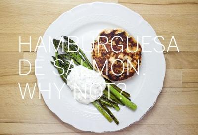 Hamburguesa de salmón. (Consultar receta en la web).