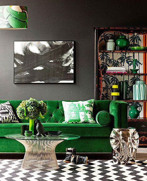 Black Green And White Living Room | Dark Gray Walls Coffee Tables