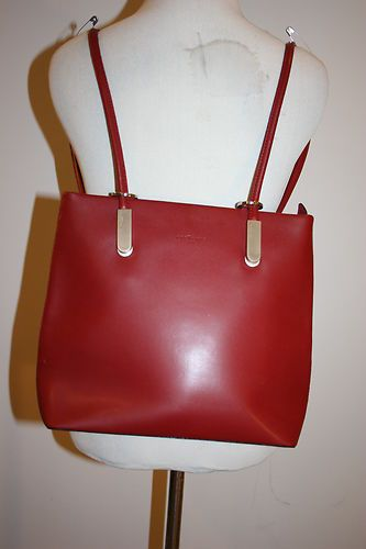 FREDERIC T PARIS Red Leather Convertible Backpack Hobo