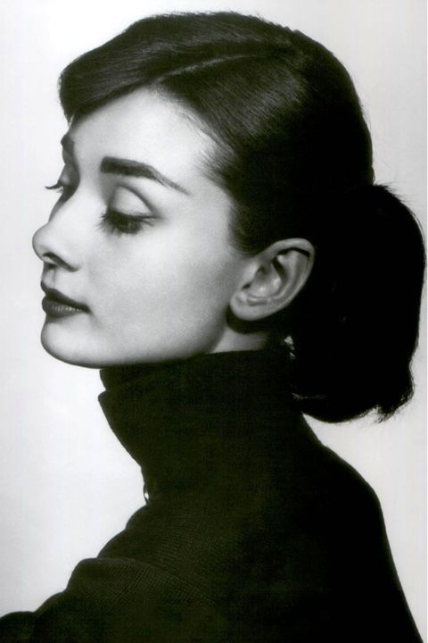 Hepburn's signature casual updo paired with a defined side part feels like a perfect match with today's boy-meets-girl fashions.