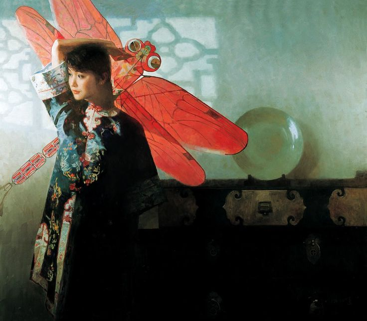 Chinese contemporary painting lady with red dragon fly kite Chen Yanning ----BTW, Please Visit: http://artcaffeine.imobileappsys.com