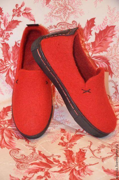 Купить Слипоны валяные женские - ярко-красный, обувь для улицы, валяная обувь