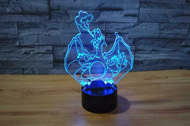 For Child Gift Home Novelty Night Light Touch 3D Illusion Pokemon Go Charizard. For Child Gift Home Novelty Night Light Touch Switch Desk Light Colorful USB LED Table Lamp 3D Illusion Pokemon Go Charizard    Features: Automatically color changing mode. Press the touch button to last color, then press it again, auto color changing mode works. Coming with USB cable, you can connecting it to your computer USB port. Energe saving. Power spend: 0.012kw.h/24 hours; LED life span: 10000hours It can…