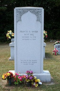 Frances Elizabeth Bavier  ( Aunt Bea) from the Andy Griffith show  Death: 	Dec. 6, 1989  Siler City  Chatham County  North Carolina, USA