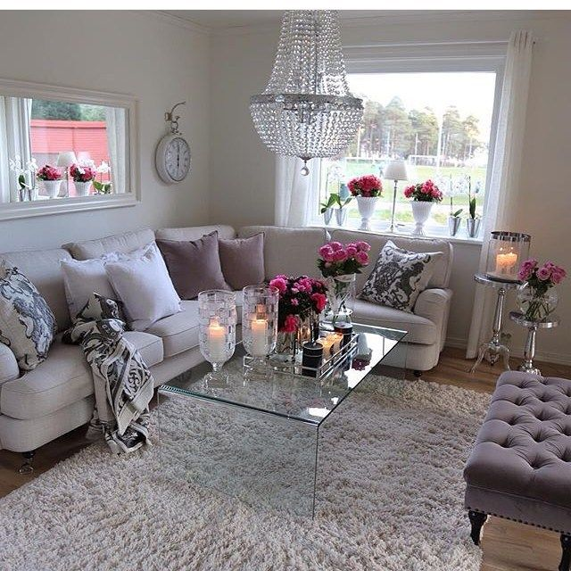 Beautiful neutral living room with a pop of color.