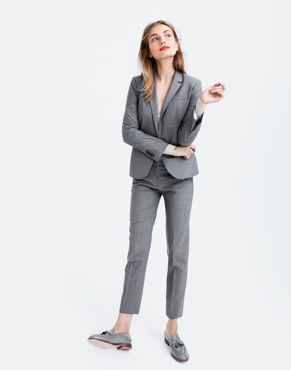 AUG '15 Style Guide: J.Crew women's Campbell blazer in Italian stretch, Collection cashmere V-neck sweater, Paley pant in Italian stretch and Biella tassel loafers.