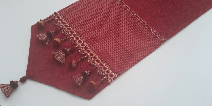 Elegant Red Jacquard Chenille Table Runner, Size 74 in x 14 in by CVDesigns on Etsy