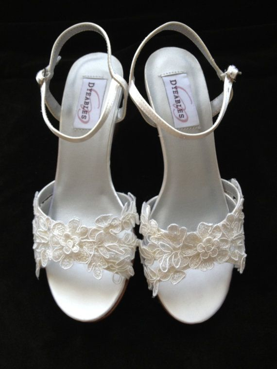 Custom Lace 2 5 Inch Wedge Heel Wedding Shoes By