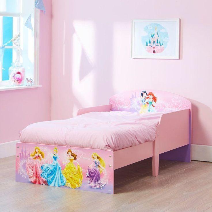 Wooden Toddler Bed Pink Disney Princess Protective Sides Kid Bedroom Furniture