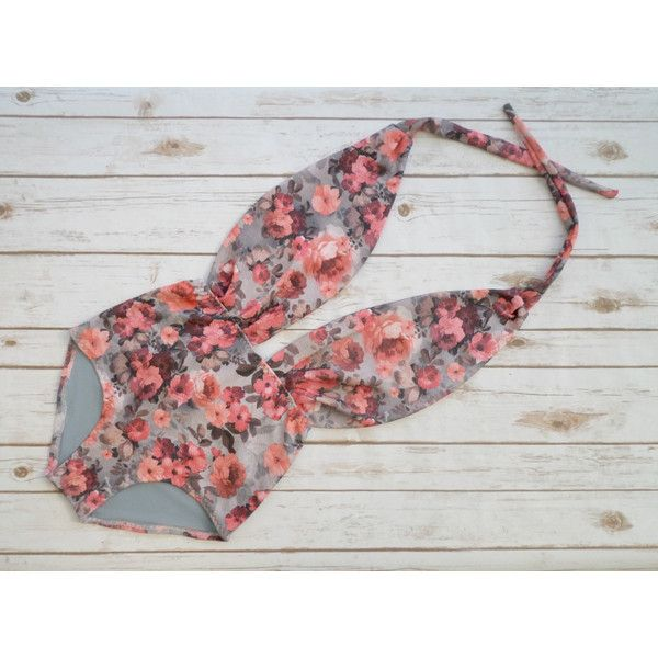 One Piece Swimsuit High Waisted Vintage Style Retro Pin-Up Maillot... ($56) ❤ liked on Polyvore featuring swimwear, one-piece swimsuits, silver, women's clothing, sexy one piece swimsuits, floral one piece swimsuit, swim suits, sexy 1 piece bathing suits and bikini swimsuit