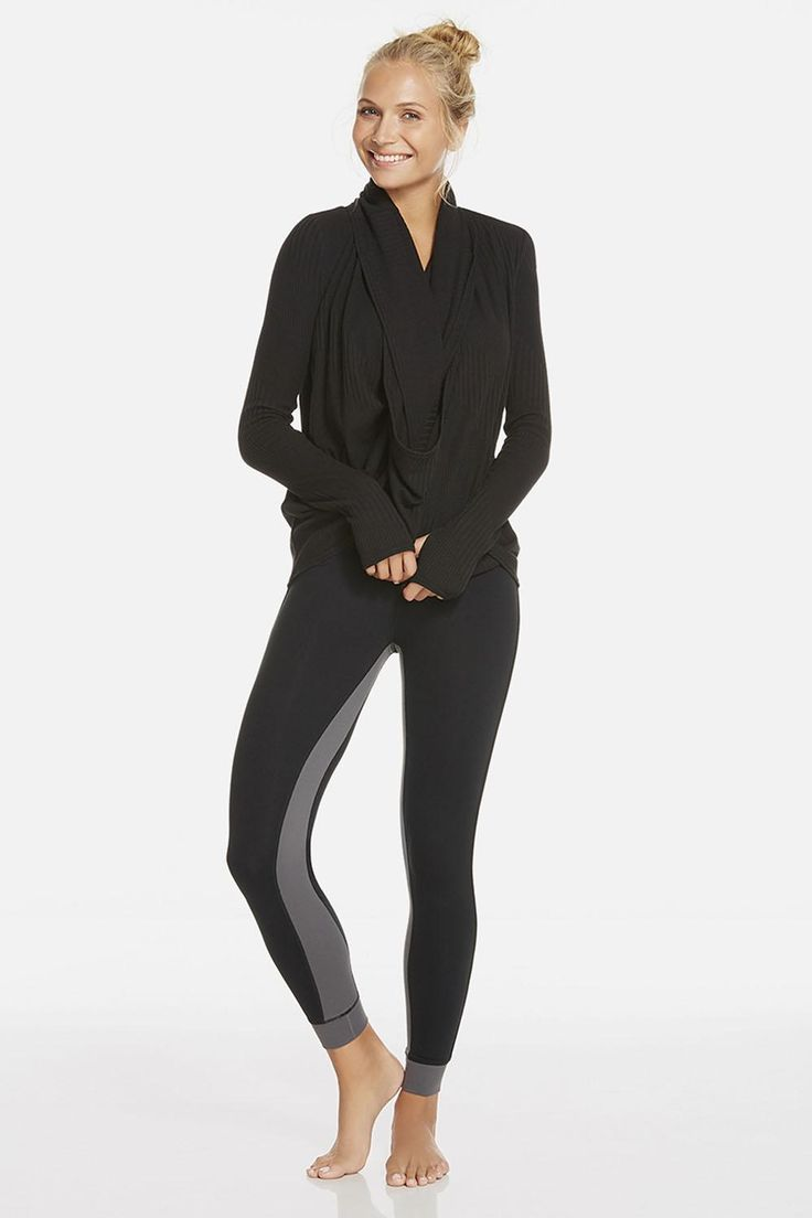 This is our ultimate airport ensemble. Take flight in an elevated wrap sweater that feels like your coziest blanket. Stay sleek and limber in an all-way stretch legging. | Baltic Outfit - Fabletics