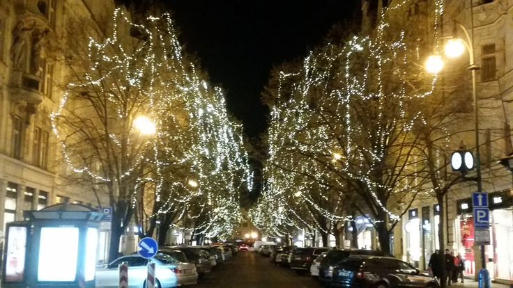 Paris Street in Prague's Old Town. A leafy tree-lined street most of the year, it becomes decorated for Christmas and New Year.