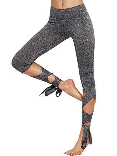 SOLY HUX Femme Pantalon Leggings Moulants avec Lacets Leggings Sculptants  Taille Haute Femme Push-Up ficelles Sport Yoga Collant Gainant Gris 85f7ad893d07