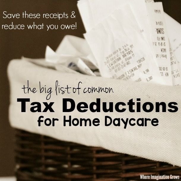 The big list of home daycare tax deductions for family child care businesses! A checklist of tax write-offs that all child care providers should know about!