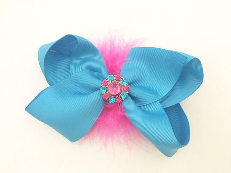Dance Costume Hair Bows! Turquoise Hot Pink Rhinestone Hair Bow, Purple and Hot Pink Marabou Hair Bow, Dance Competition Hair piece by FancyGirlBoutiqueNYC on Etsy