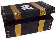 Cofre de piratas feito a partir duma caixa de sapatos. Em: http://www.makingfriends.com/recycle/recycle_treasure_box.htm