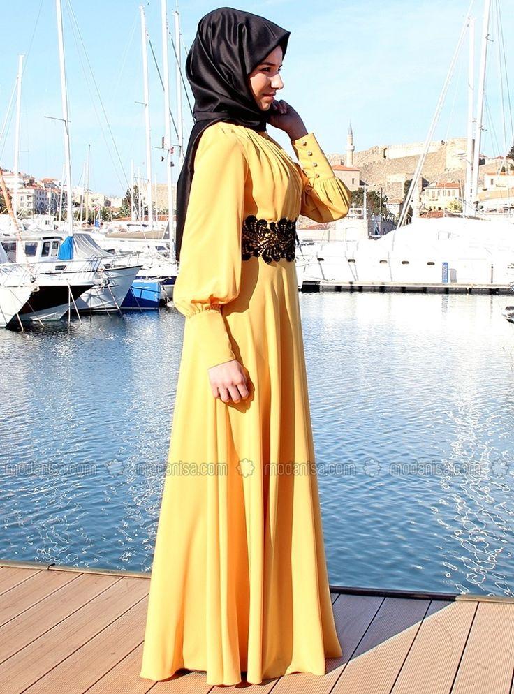 Бели Fistolu Elbise - Sarı - Medine tesettür