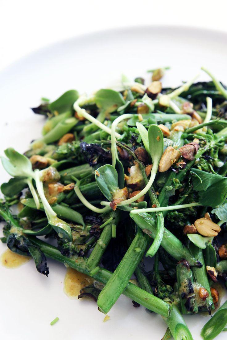 Charred Broccolini Salad with Vegan Curry Aioli