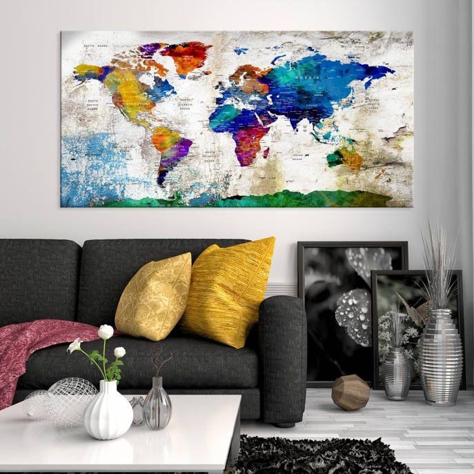 Tela di mappa del mondo mondo mappa tela arte grande