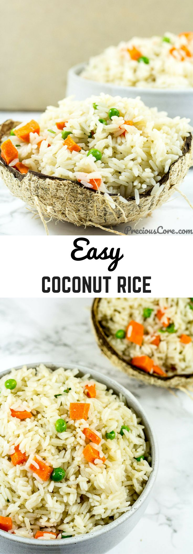 This easy coconut rice only requires 5 ingredients and about 20 minutes. The perfect side dish for stews or curries! Enjoy this simple coconut rice recipe on PreciousCore.com.